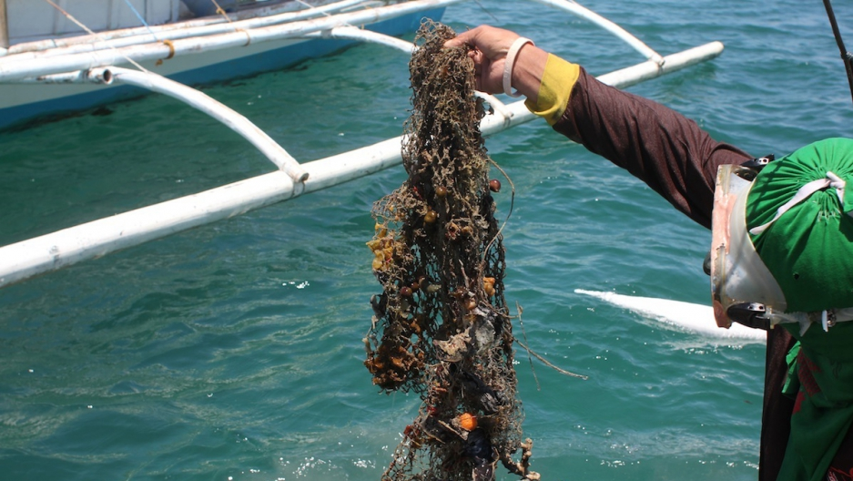 "Abandoned ""ghost nets"" take a deadly toll on fish and aquatic ecosystems around the world. The NetWorks program in the Philippines attacks the problem by paying fishermen to haul up old nets and then sends them to Europe and the US to be recycled into com"