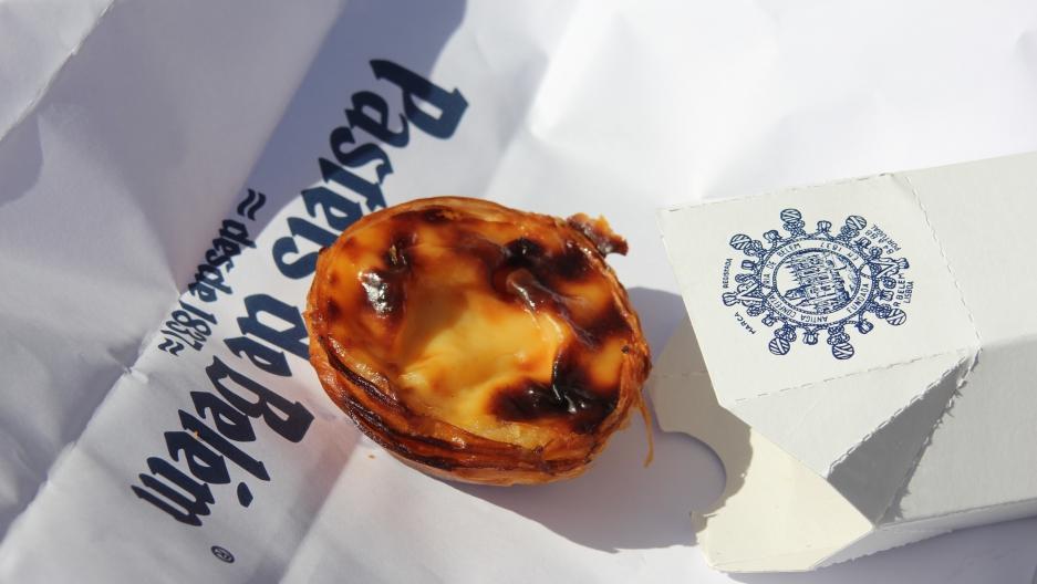 Pastéis de nata (singular: pastel), the custard tarts that are the regional pastry of the Lisbon area, as served up at Pastéis de Belém since 1837.
