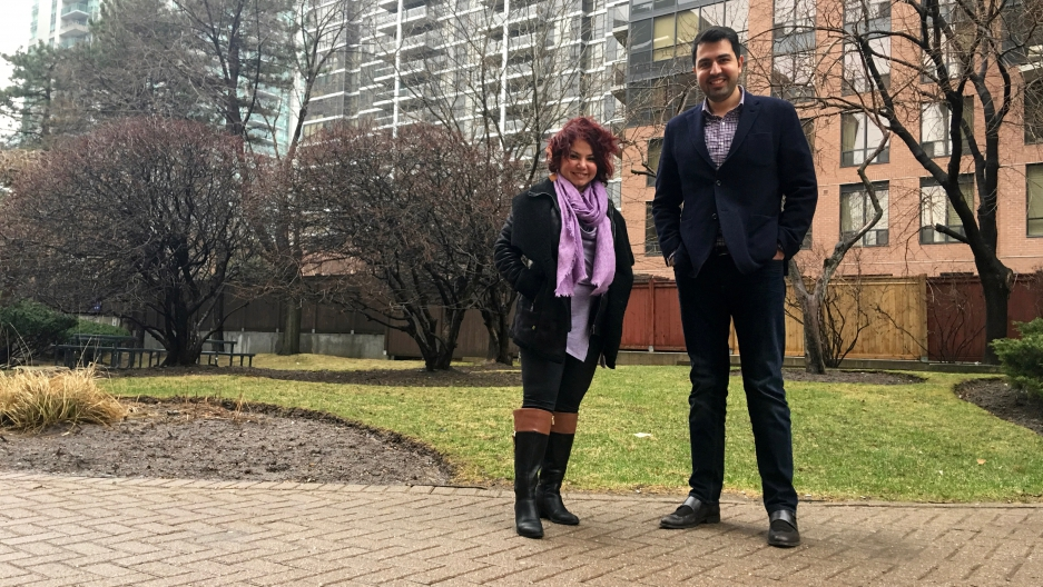 Soudeh Ghasemi (L) and Bijan Ahmadi are among the Iranian-Canadians in Toronto who hope that Canada will normalize relations with Iran sooner than later.