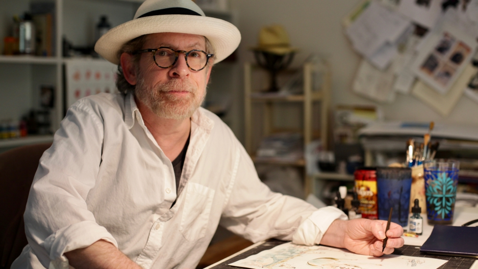 Illustrator Barry Blitt at his home studio in Connecticut