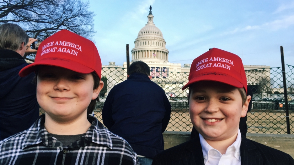 For Christmas, Gavin Miller (right) asked his mom to take him to the presidential inauguration. Here, he stands in front of the US Capitol with the friend he brought along.