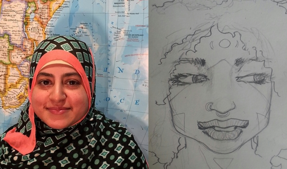 Usra Ghazi and Thanaa El-Naggar discuss issues that divide some women in the Muslim community.  El-Naggar is viewed in a sketch since she isn't comfortable attaching a photo to  views some might consider controversial.