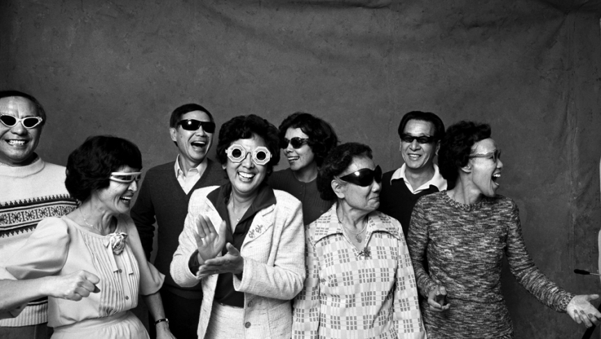 Michael Jang's photo of his aunts and uncles in sun glasses. He took the photo for a homework assignment in the 1970s. Now it's part of the collection at the San Francisco Museum of Modern Art.