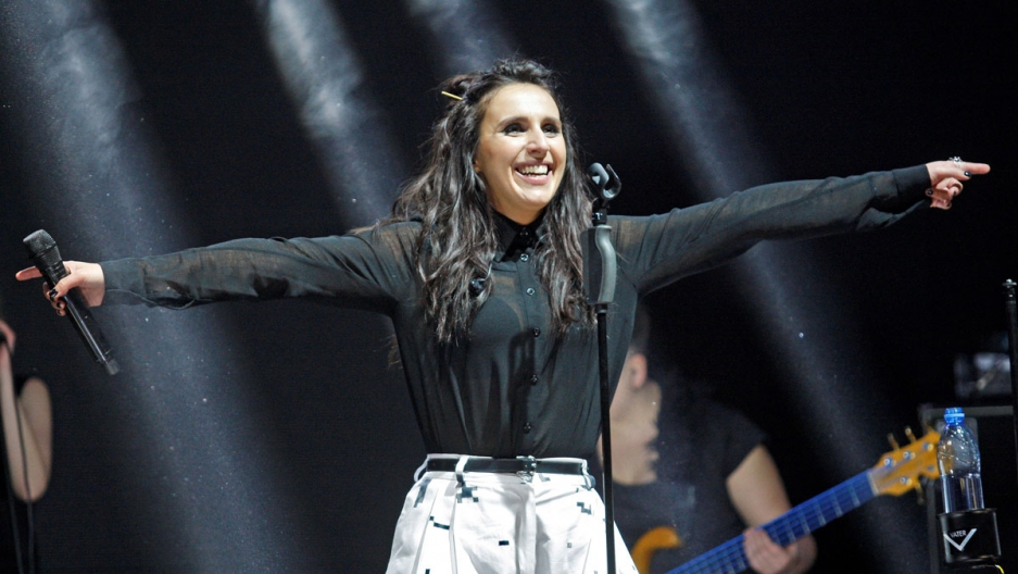 The winner of the Ukrainian national selection for the Eurovision 2016 Crimean Tatar singer Susana Jamaladynova known as Jamala performs during a concert in Kiev, Ukraine, on March 18, 2016. Jamala will represent Ukraine at the Eurovision with a song name