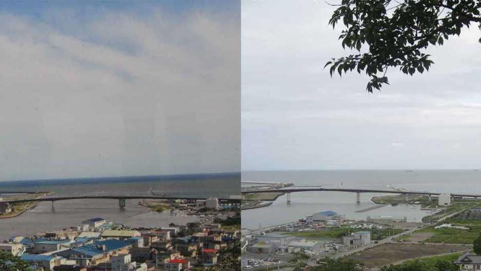 The coastal Japanese city of Ishinomaki, before the Tsunami... and today.