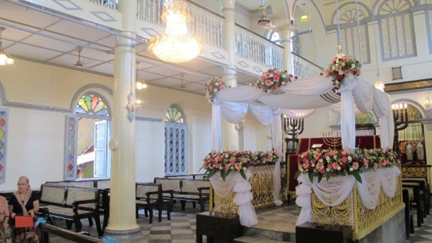 Mesmuah Yeshuah Synagogue in Yangon, Myanmar, decked out for Sammy Samuel's wedding