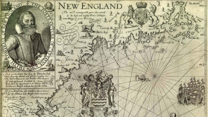 John Smith and part of his famous 1616 map of New England