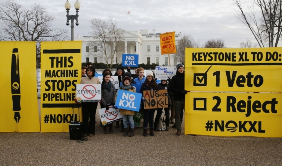 Opponents of the Keystone XL oil pipeline rally in front of the White House on February 24, 2015, the day President Barack Obama vetoed a bill circumventing administration review of the project and mandating its construction.
