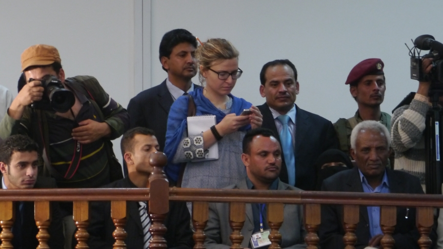 Reporter Laura Kasinof covering the inauguration of Yemeni President Abdurabbu Mansour Hadi, February 2012.