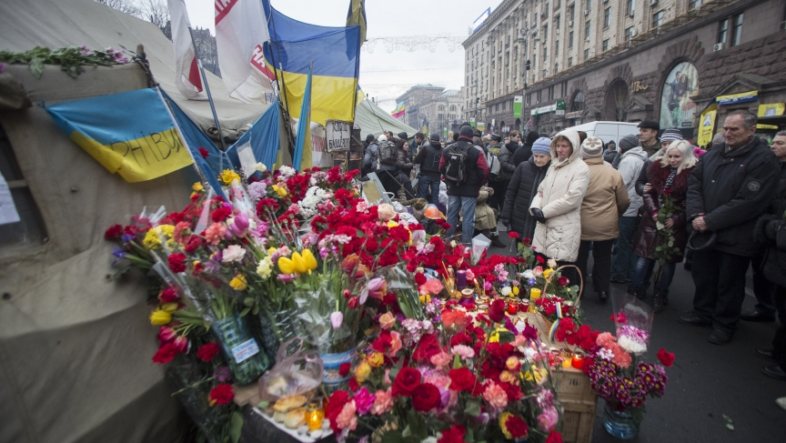 Makeshift memorial in Kiev