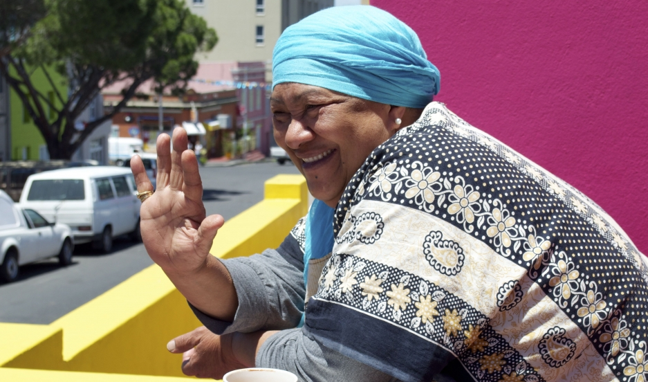 Janap Masoet outside her sister Niesa Bosch's house in Cape Town's Bo-Kaap neighborhood.