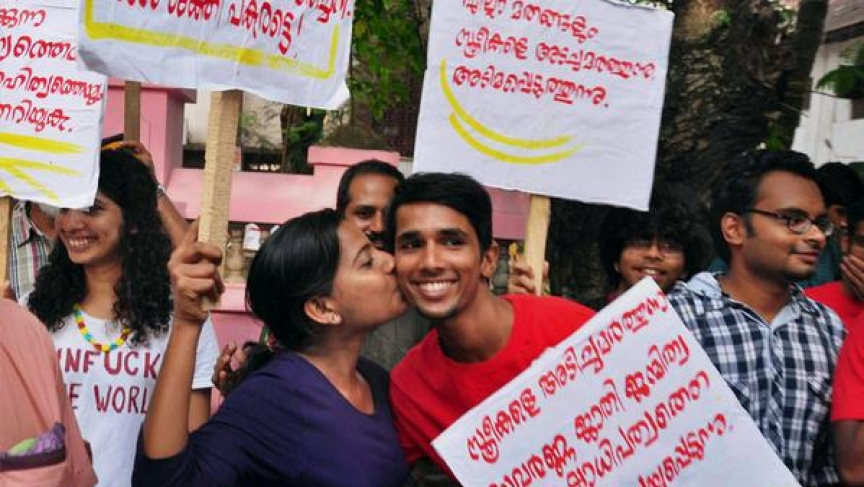 Kissing protest in Kerala, India