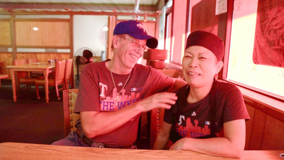 William and Hyosun Tartaglia have been married for almost 20 years. They met in Korea when William was in the US military, and Hyosun worked at a snack bar for military personnel. Now Hyosun runs a restaurant in Killeen, Texas.