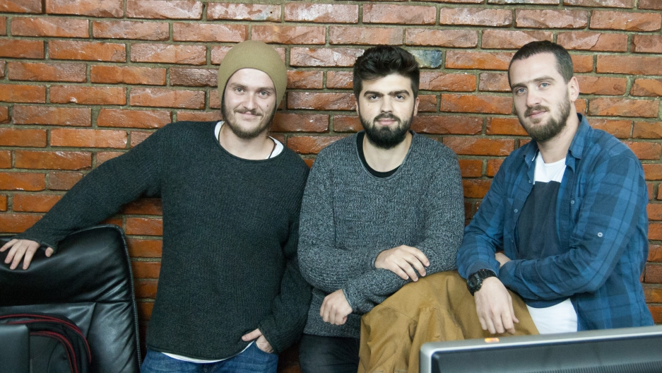 "The team behind ""Kosovo if Trump Wins"" (from left) Fitim Krasniqi, Argjend Haxhiu and Kushtrim Krasniqi. All three are devout Muslims. They are also pro-American like most people in Kosovo."