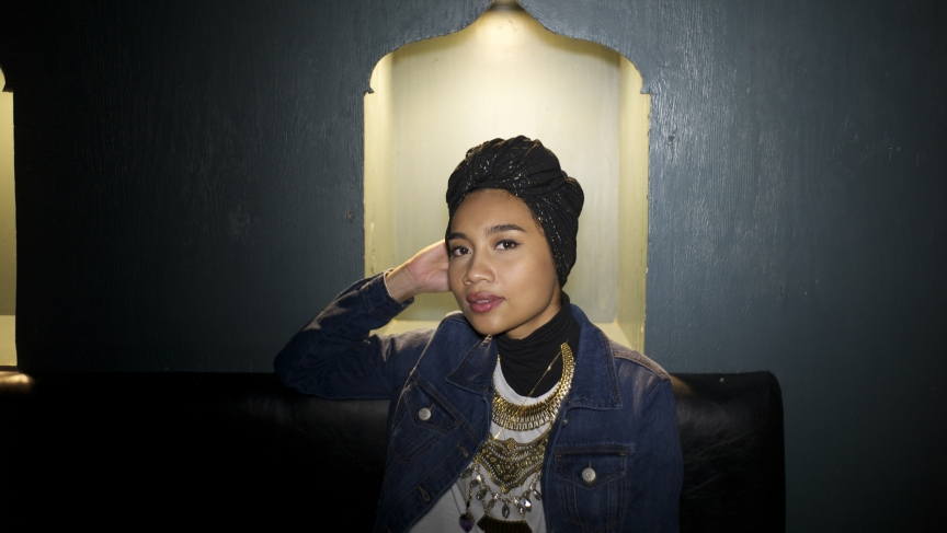 Yuna Zarai poses at her show at the Paradise Rock Club in Boston.