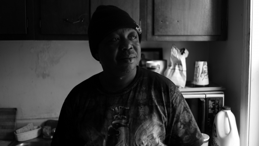 Reuben Koroma, a founding member of the band Sierra Leone's Refugee All-Stars, at his temporary home in Providence, Rhode Island.
