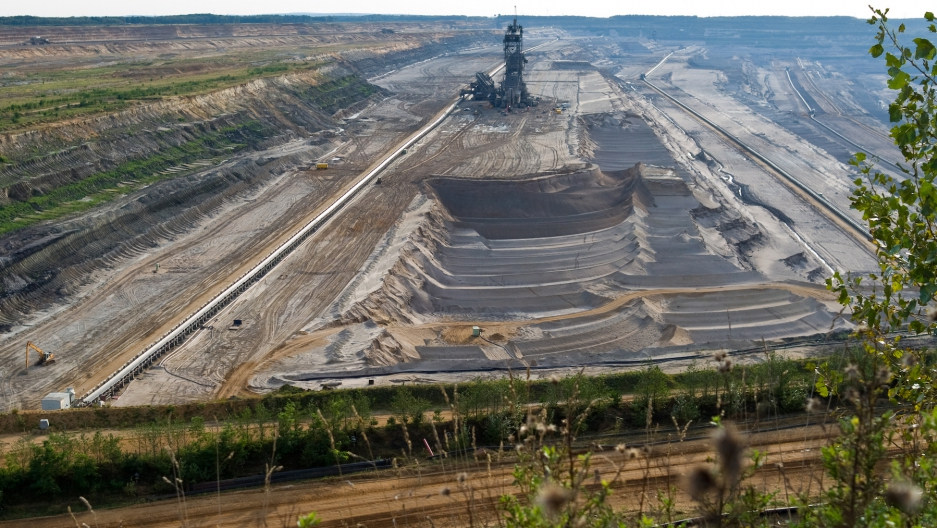 A section of the Hambach lignite mine in Germany's Rhineland coal fields, whose coal-fired power plants, run by power giant RWE, are one of Europe's largest sources of CO2 emissions.