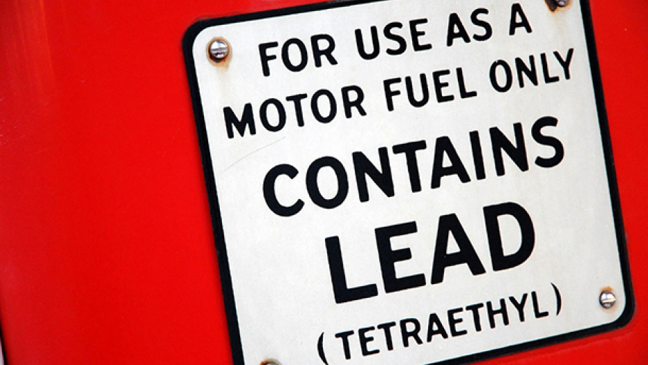 Leaded gas sign