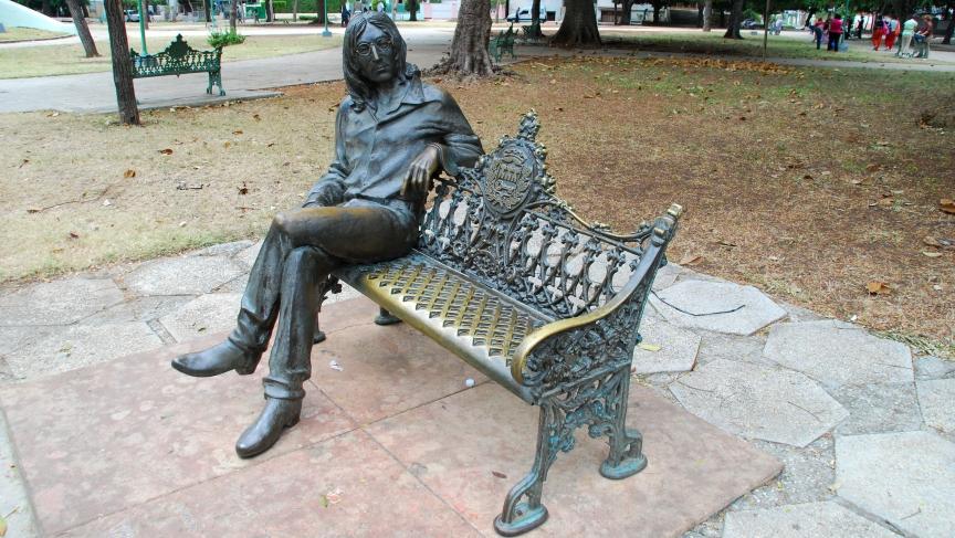 Lennon sculture in Havana, Cuba