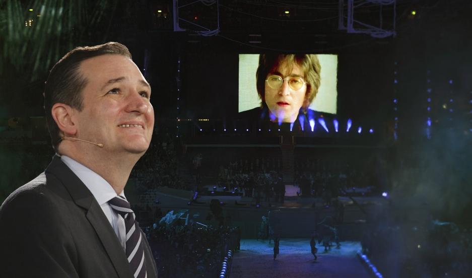 "Photo illustration of Sen. Ted Cruz and a video of musician John Lennon singing his song ""Imagine""."