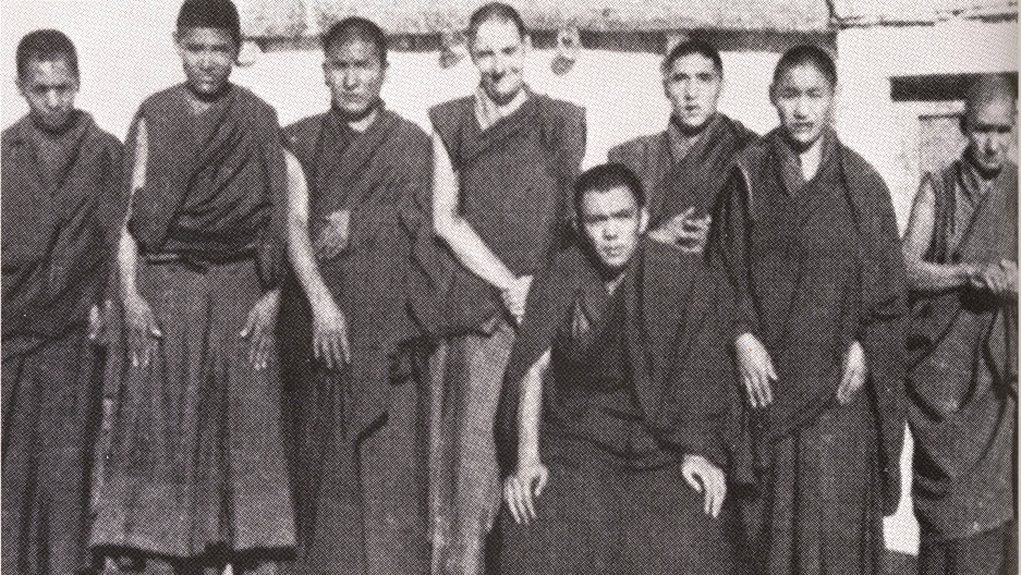 Lobzang Jivaka (fourth from left) at Rizong Monastery in Ladakh, northern India, with some of his fellow monks, in 1960.