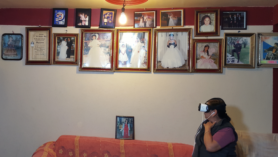 "In Mexico City, a grandmother, who has not seen her relatives living in the US for nearly two decades, ""visits"" them through a virtual reality video made by the Family Reunions Project."