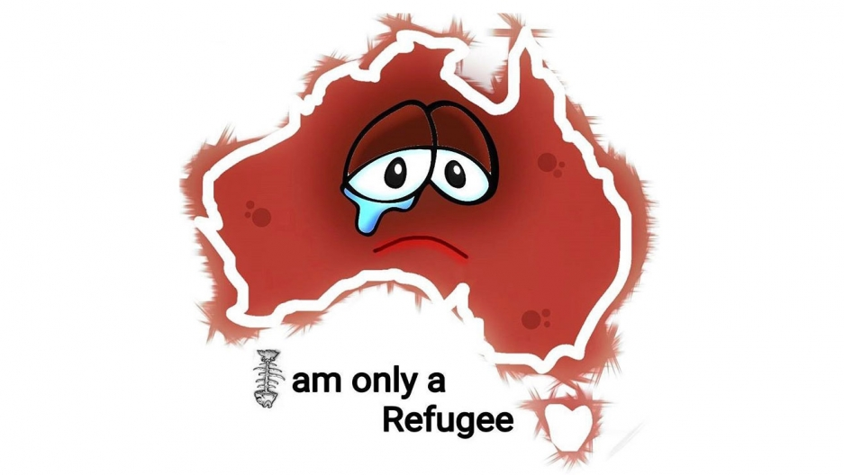 "a cartoon drawn by cartoonist Eaten Fish that shows a map of Russia with a sad face, a tear in one eye and the words ""I am only a refugee"" wit the ""I"" in the shape of a fishbone."