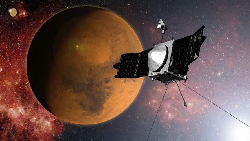 An artist's concept of NASA's MAVEN spacecraft approaching Mars. The probe entered Mars orbit on September 21.