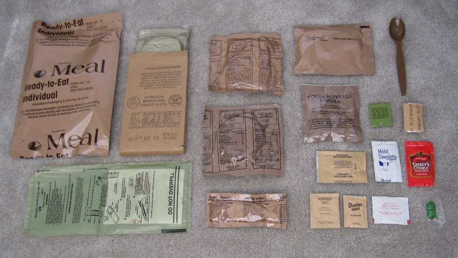The contents of an MRE (Meals Ready to Eat)