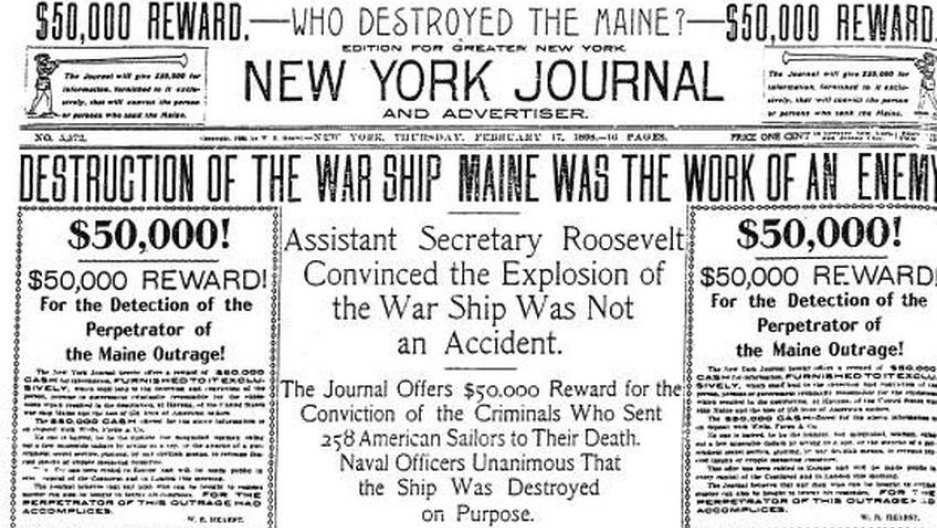 Part of the front page of the New York Journal, Feb 17th 1898: fake news which helped start a war