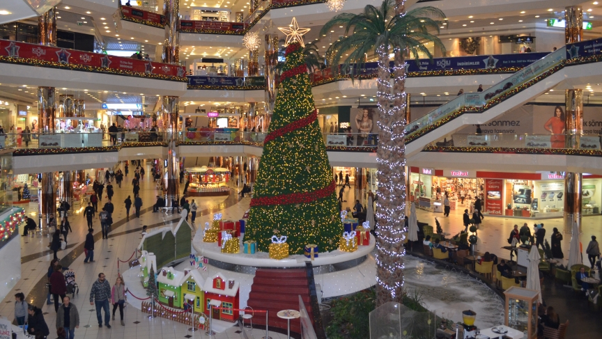 A massive evergreen tree towers over the atrium in one of Istanbul's largest malls.