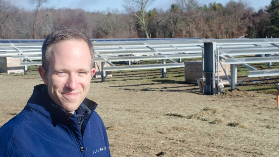 Mark Sylvia with BlueWave Capital. The Boston-based company is building a 1 mw solar farm in Fairhaven, Mass., enough power for roughly 100 customers.