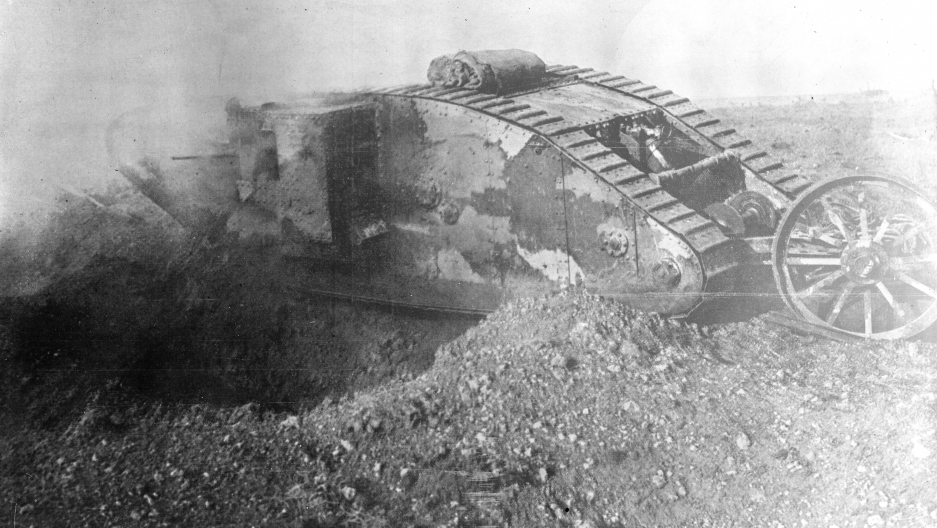 A British Mark One tank, of the type that was used in the first tank attack in history, 15th September 1916
