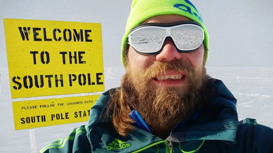 This photo was supposed to be selfie proof of Martin Szwed's claim of skiing solo to the South Pole in just 14 days. He later said the photo was a montage.