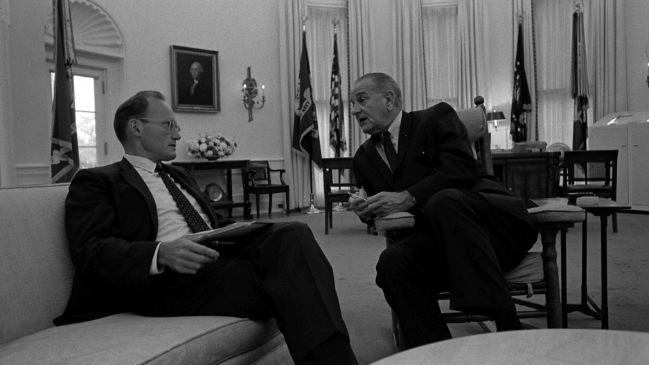 lbjs office president. president lyndon johnson with national security advisor mcgeorge bundy in the oval office aug 1967 lbjs