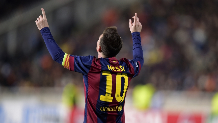 Barcelona's Lionel Messi celebrates after scoring a goal against APOEL Nicosia during their Champions League Group F soccer match in Nicosia November 25, 2014.