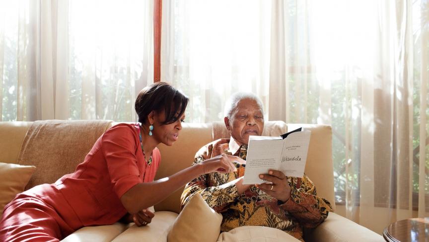 Michelle Obama and Nelson Mandela