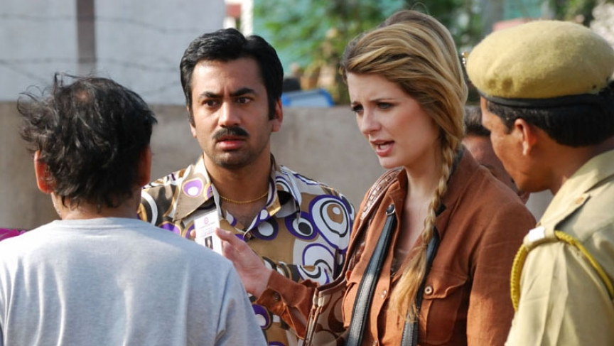 "Kal Penn and Mischa Barton filming a scene from ""Bhopal: A Prayer for Rain."""