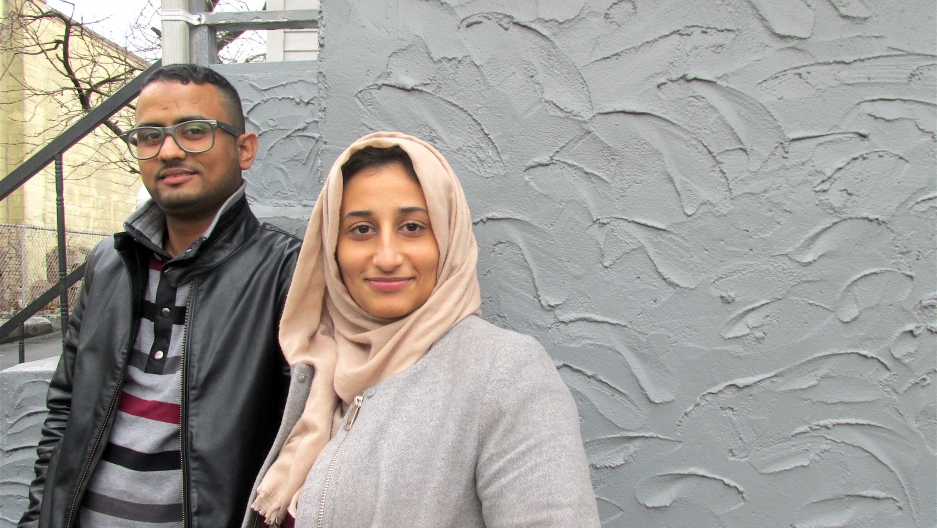Muntaser Yaghnam and Summer Nasser at home in Mount Vernon, New York.