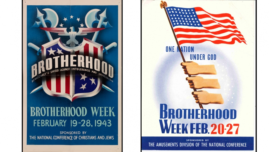 Posters promoting National Brotherhood Week in the US