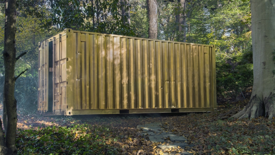 You step into this container, and connect with someone through video conference, in an identical container, somewhere else in the world.