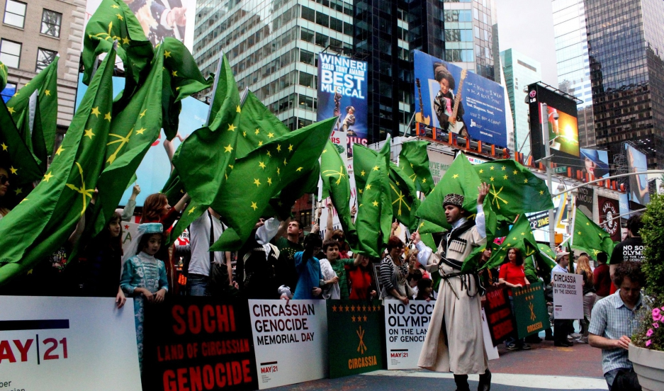 Circassian protest on Times Square in 2011.