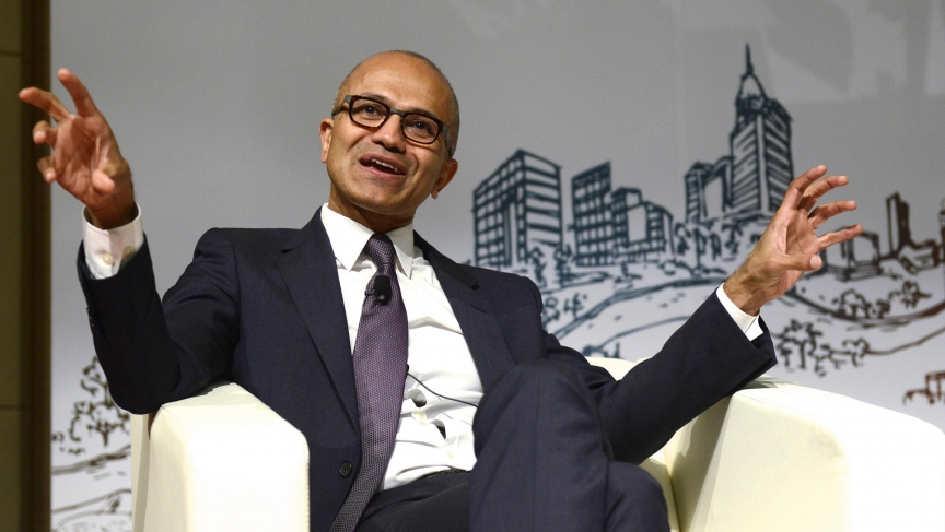 Microsoft Chief Executive Officer Satya Nadella speaks at Tsinghua University in Beijing.
