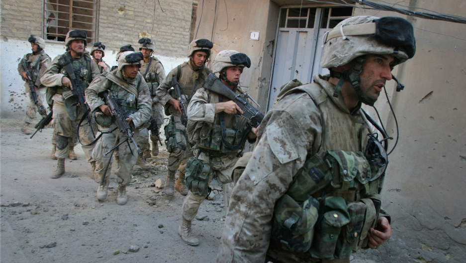 Seth Moulton leading his Marines in the Battle of Najaf in 2004