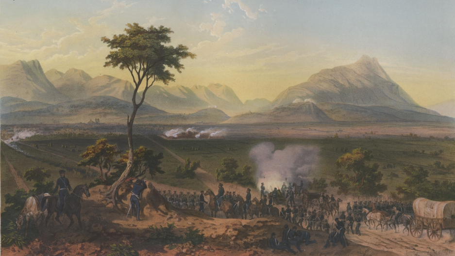 Pictured are US troops marching on Monterrey in this painting by Adolphe Jean-Baptiste Bayot after a drawing from Carl Nebel.