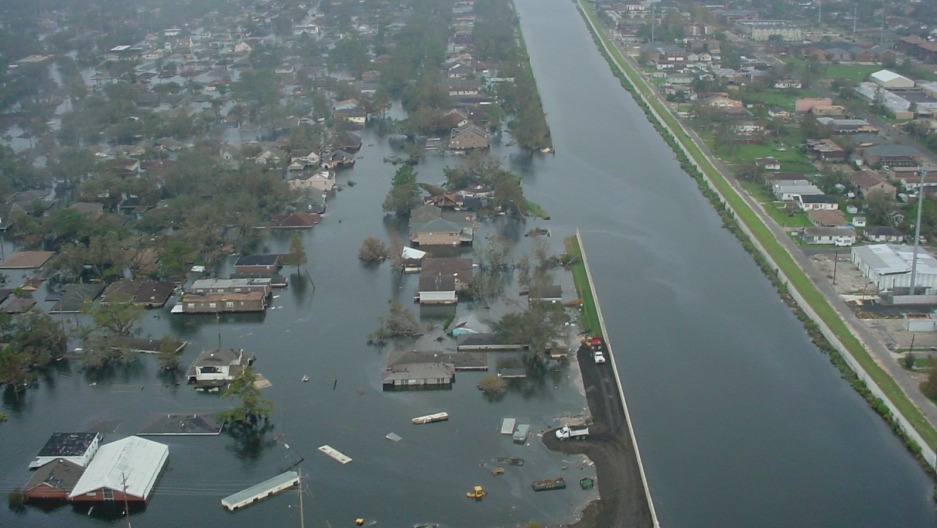 The 17th Street Canal breach in New Orleans after Hurricane Katrina
