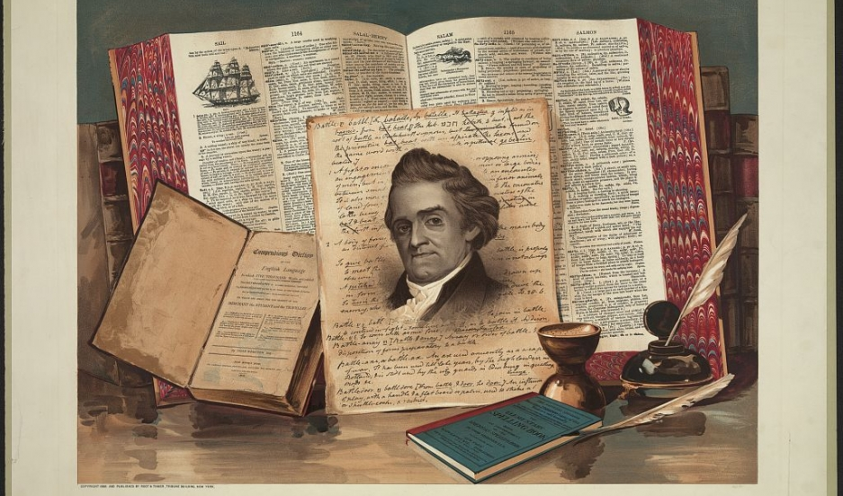 "A late-19th century print that called Noah Webster the ""Schoolmaster of the Republic."""
