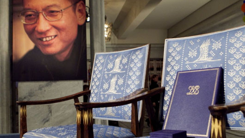 Liu Xiaobo's empty chair at 2010 Nobel Peace Prize Ceremony in Oslo, Norway; Liu was in a Chinese prison.