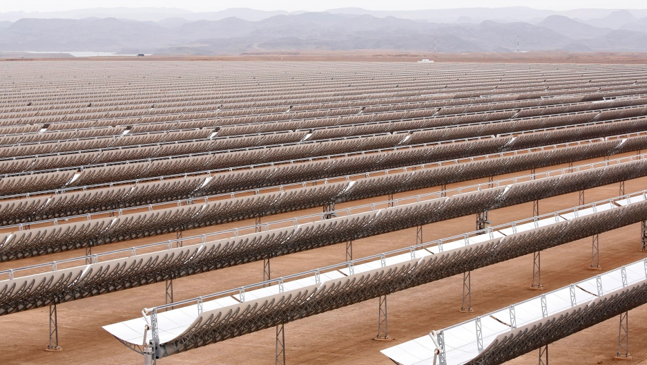 A vast array of curved mirrors at the Noor Concentrated Solar Power plant near Ouarzazate, Morocco. The massive facility is part of an agressive effort to develop renewable power in Morocco.