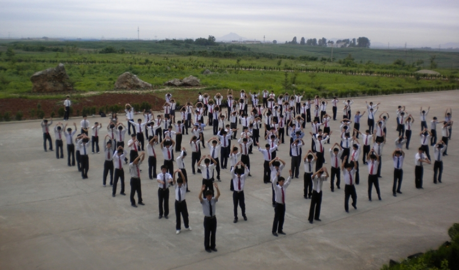 Students at the Pyongyang University of Technology doing their morning exercise.